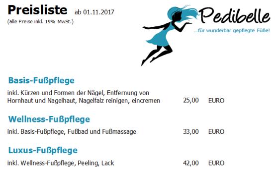 Preise Fußpflege 05.12.2017