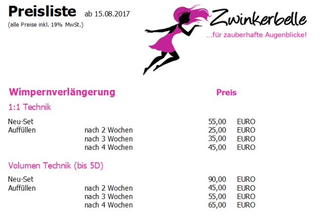Preise Wimpernverlängerung 05.12.2017
