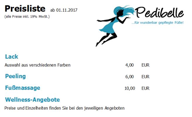 Preise Zusatzleistungen und Wellness 05.12.2017